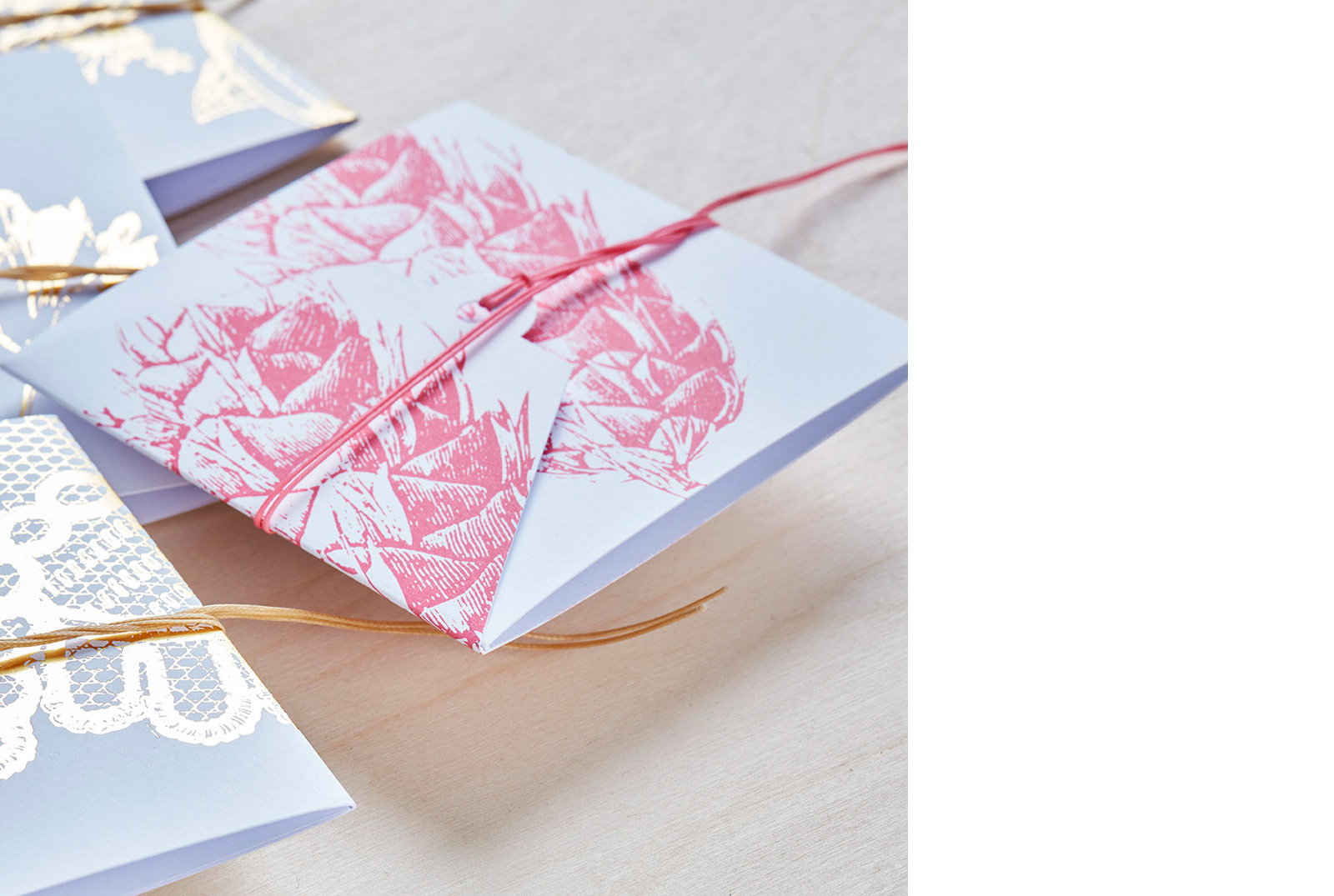 Sanne Lindberg Cards in SWEET PINK. SWEET PINK on crispy white. The cards measure, when folded; 12 x 12 cm. Folds out to triple size.